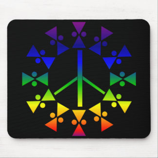 Rainbow Peace Sign Spiral Mouse Pad