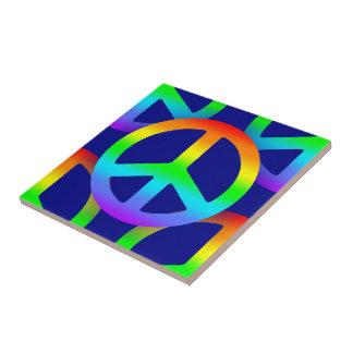Rainbow Peace Sign Tile