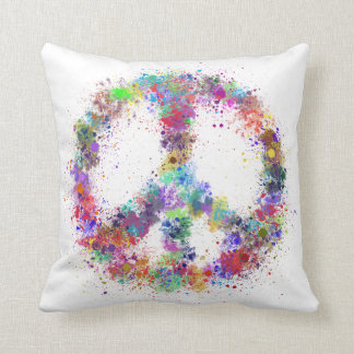 Rainbow Peace Sign | Watercolor Splatter Cushion