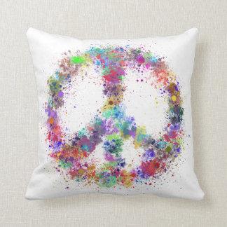 Rainbow Peace Sign | Watercolor Splatter Throw Pillow