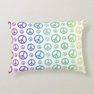 Rainbow Peace Signs Accent Cushion