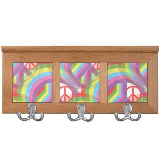Rainbow Peace Signs Coat Rack