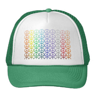 Rainbow Peace Signs Mesh Hat