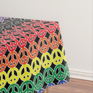 Rainbow Peace Signs Stacked on Black Tablecloth