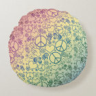 Rainbow Peace Symbol Design Pattern Round Cushion