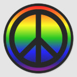 Rainbow Peace Symbol Round Sticker
