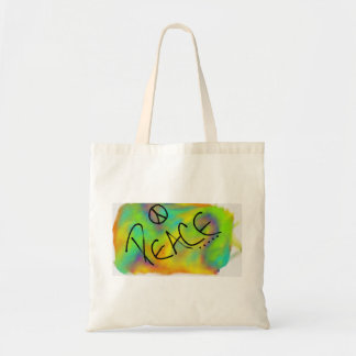 rainbow peace budget tote bag