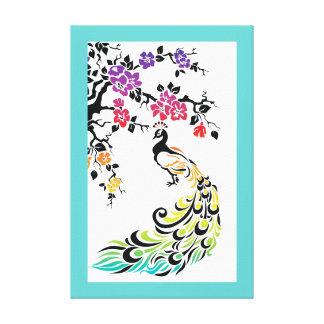 Rainbow peacock & cherry blossoms aqua border canvas prints