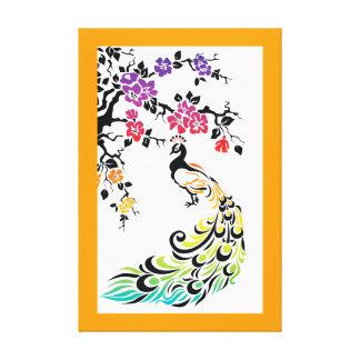Rainbow peacock & cherry blossoms orange border stretched canvas print