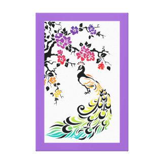 Rainbow peacock & cherry blossoms purple border canvas print