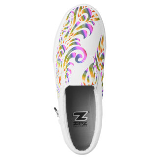 Rainbow Peacock Feather Abstract Slip On Sneaker Printed Shoes