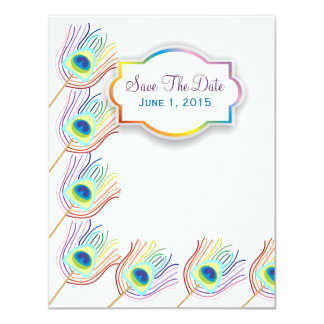 Rainbow Peacock Feathers Save The Date Cards 11 Cm X 14 Cm Invitation Card