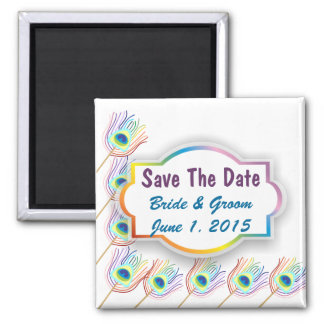 Rainbow Peacock Feathers Save The Date Magnet