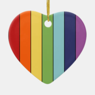 Rainbow pencils ceramic heart decoration