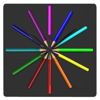 rainbow pencils square wall clock
