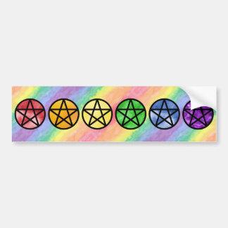 Rainbow Pentacle Bumper Stickers