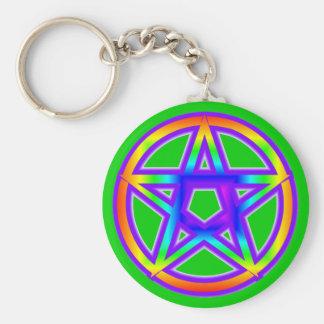 Rainbow Pentagram Keychain