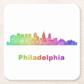 Rainbow Philadelphia skyline Square Paper Coaster