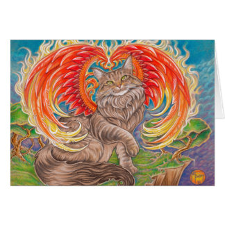Rainbow Phoenix Maine Coon Cat Greeting Card
