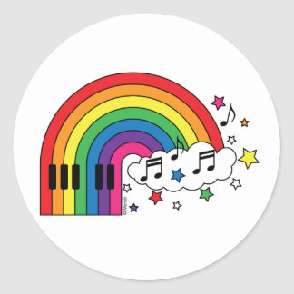 Rainbow Piano Classic Round Sticker