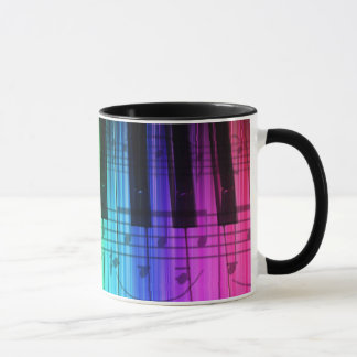 Rainbow Piano Keyboard and Notes Mug