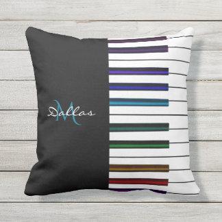 Rainbow Piano Keyboard Monogram Music Outdoor Cushion