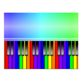 Rainbow Piano Keyboard Postcard