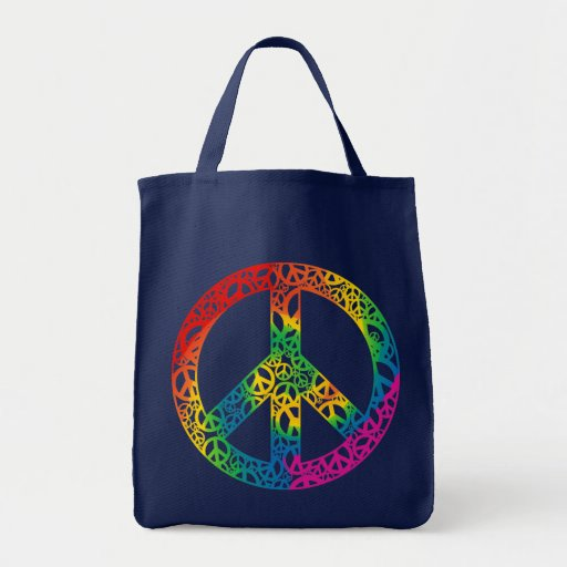 Rainbow Pieces of Peace Grocery Tote Bag