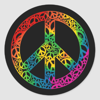 Rainbow Pieces of Peace Round Stickers
