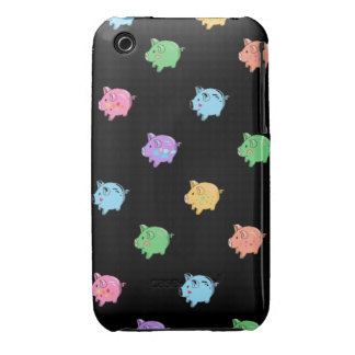 Rainbow Pig Pattern on black iPhone 3 Case-Mate Case