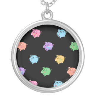 Rainbow Pig Pattern on black Silver Plated Necklace