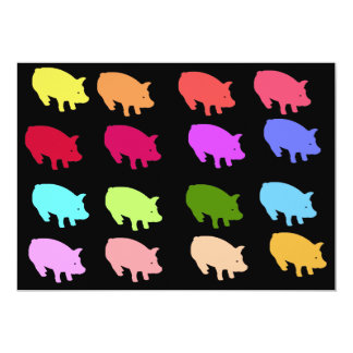 Rainbow Pigs 13 Cm X 18 Cm Invitation Card