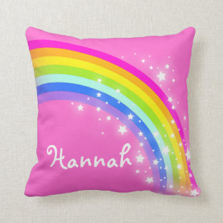 rainbow pink daughter named pillow throw cushion