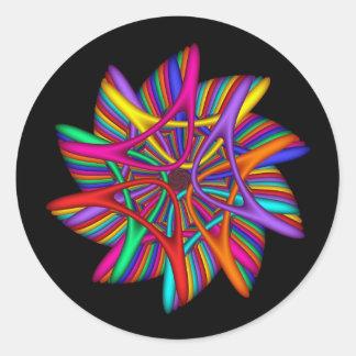 Rainbow Pinwheel Classic Round Sticker