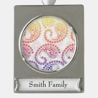 Rainbow Pinwheel Paisley Design Silver Plated Banner Ornament