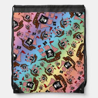 Rainbow pirate ship pattern cinch bags