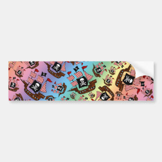 Rainbow pirate ship pattern bumper stickers