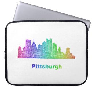 Rainbow Pittsburgh skyline Computer Sleeve
