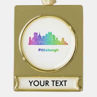 Rainbow Pittsburgh skyline Gold Plated Banner Ornament