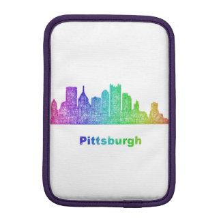 Rainbow Pittsburgh skyline iPad Mini Sleeves