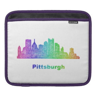 Rainbow Pittsburgh skyline iPad Sleeves