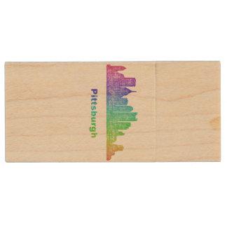 Rainbow Pittsburgh skyline Wood USB 2.0 Flash Drive