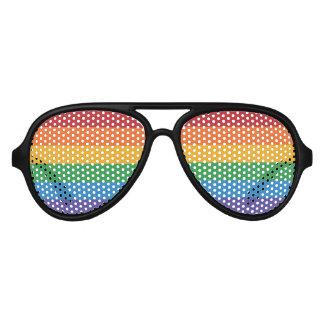 Rainbow Pixel Flag Aviator Sunglasses