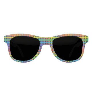 Rainbow Plaid Black Sunglasses