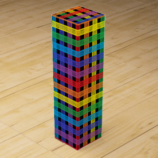 Rainbow Plaid Black Wine Gift Box