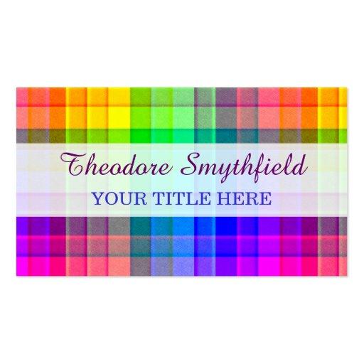 Rainbow Plaid Custom Business Cards