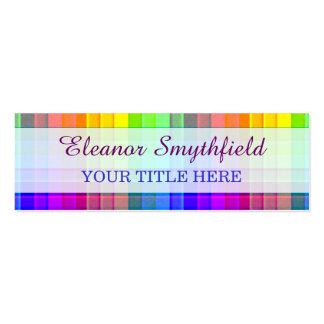 Rainbow Plaid Custom Pack Of Skinny Business Cards