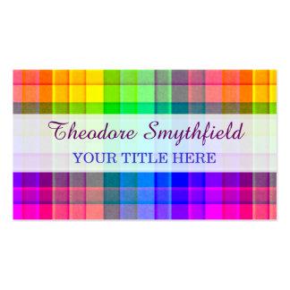 Rainbow Plaid Custom Pack Of Standard Business Cards