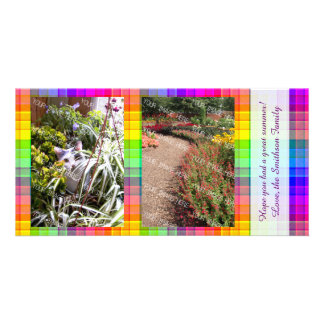 Rainbow Plaid Custom Two Photo Picture Card