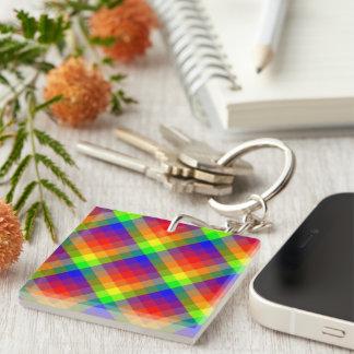 Rainbow Plaid Double-Sided Keychain